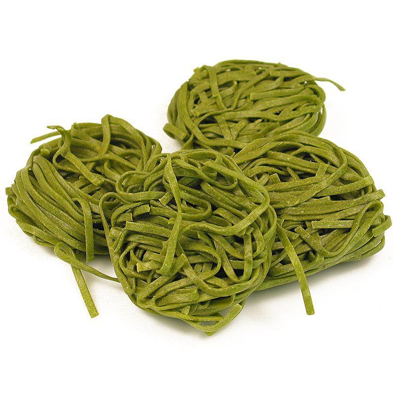 SASSELLA - friss Tagliarini spenóttal, zöld, szalagos tészta, 3 mm, 500 g