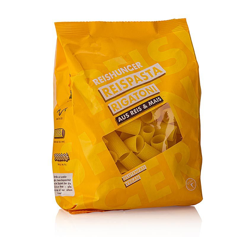 Rizstészta - Rigatoni, kukorica & Rizs, Reishunger, 400 g