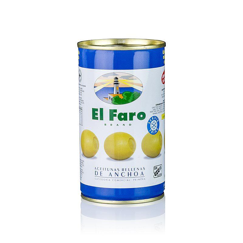 Olajbogyó zöld, szardellával (szardella töltelék), sós lében, El Faro 350 g