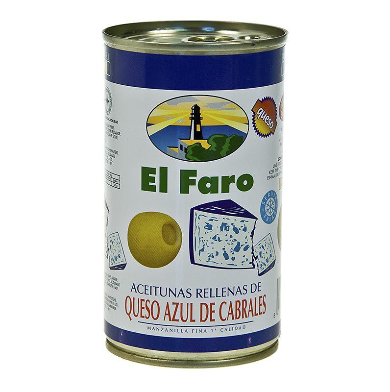 Olajbogyó zöld, kék penészes sajttal, sós lében, El Faro 350 g