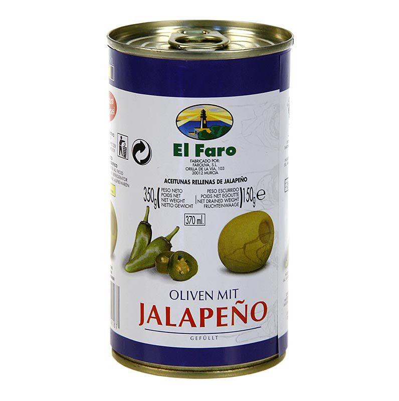 Olajbogyó zöld, Jalapeno Chilivel, sós lében, El Faro, 350 g