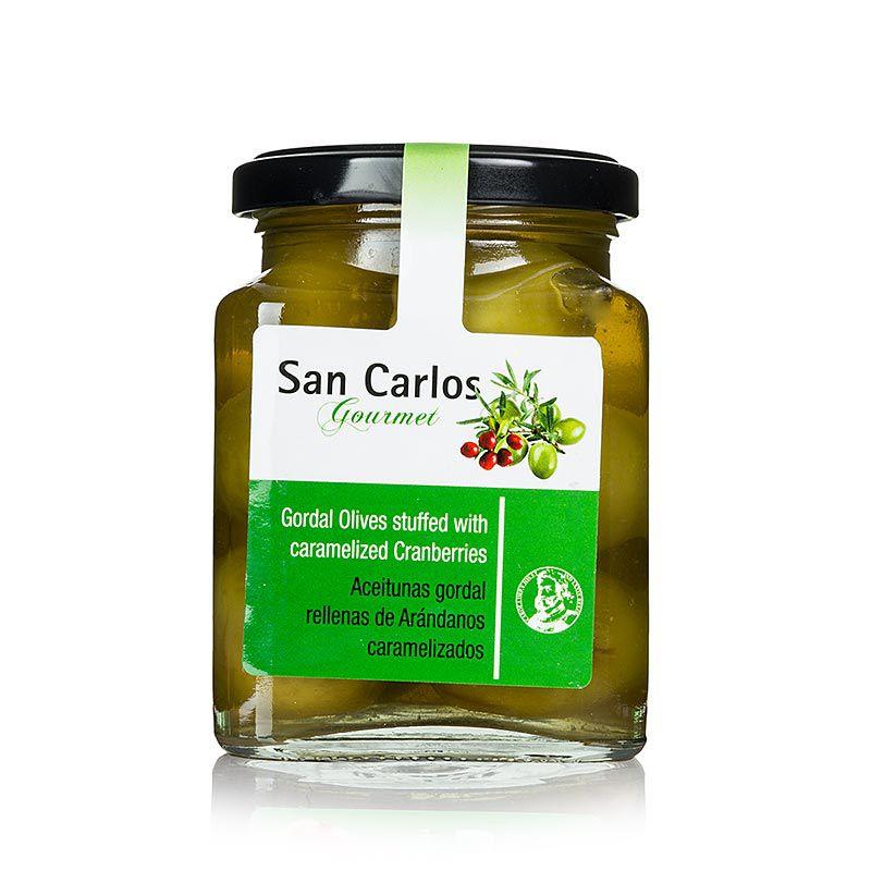 Gordal olajbogyó zöld, mag nélkül, karamellizált vörös áfonyával, San Carlos 300 g