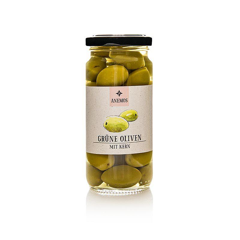 Olajbogyó zöld, maggal, sós lében, ANEMOS,  227 g