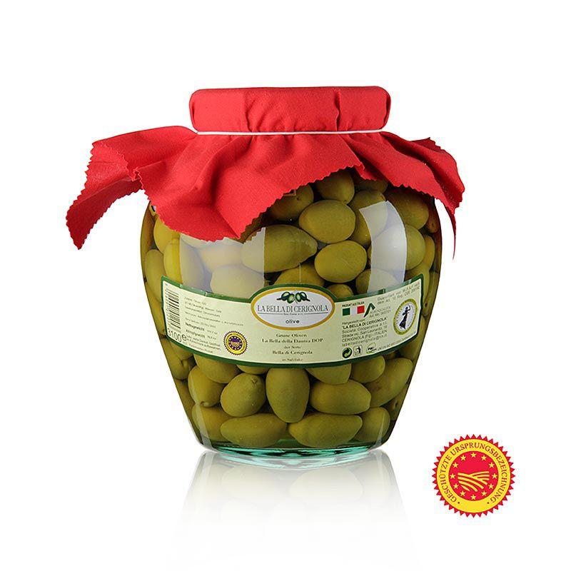 "Olajbogyó zöld, Bella della Daunia "", maggal, sós lében, Apulia,  3,14 kg"""